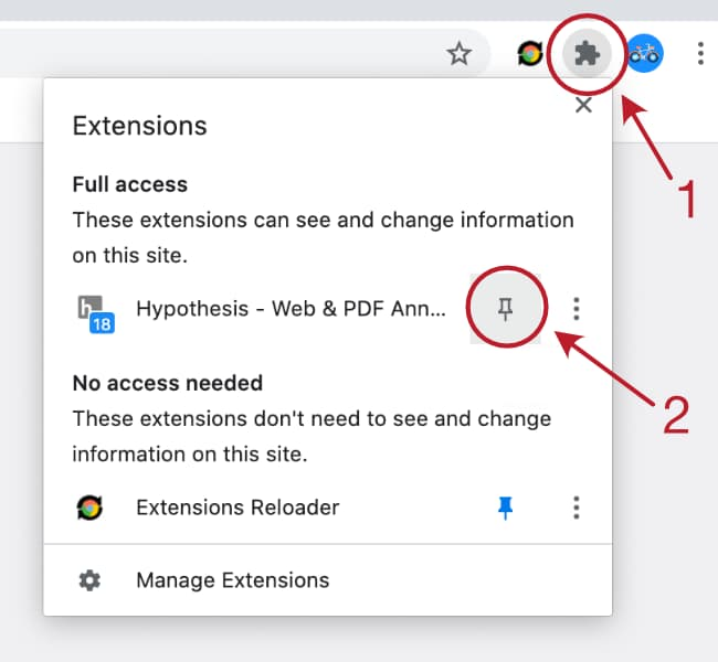 Select the puzzle-piece icon (extension menu) in the Chrome location bar, then 'pin' the Hypothesis extension so it is always available